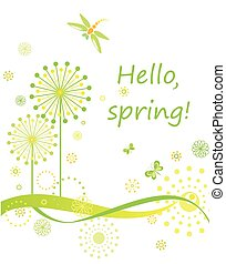 wiosna, karta, mniszek lekarski