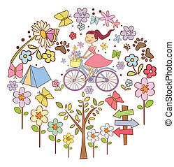 wiosna, koło, chorągiew, doodle