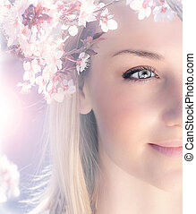 wiosna, kobieta, czuciowy, portret