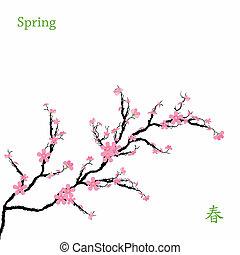 wiosna, kwiaty, wiśnia