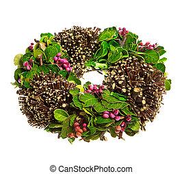 wiosna, liście, wieniec, berrys
