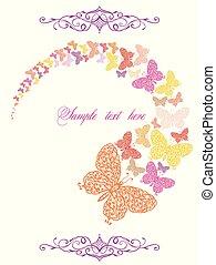 wiosna, motyle, karta