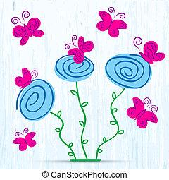 wiosna, motyle, kwiaty