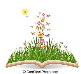 wiosna, motyle, trawa