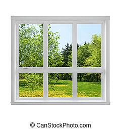 wiosna, okno, przez, krajobraz, zobaczony