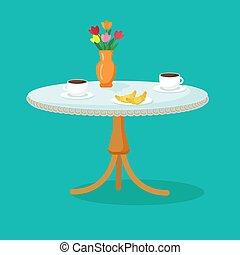 wiosna, openwork, rysunek, croissanty, tablecloth, stół, cafe., szykowny, filiżanki, vector., kawa, kwiaty, vase.