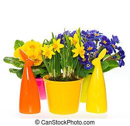 wiosna, ozdoba, królik, kwiaty, wielkanoc