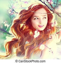 wiosna, piękno, dziewczyna, z, długi, czerwony, podmuchowy, włosy, outdoors
