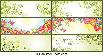 wiosna, poziome chorągwie