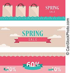 wiosna, poziomy, komplet, retro, chorągwie