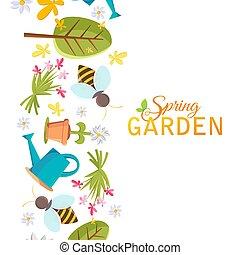 wiosna, projektować, ogród, afisz