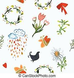 wiosna, seamless, ilustracja, akwarela, próbka, kwiatowy