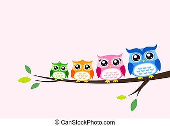 wiosna, sowa, rodzina, karta, zaproszenie