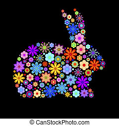 wiosna, trusia królik, z, kwiaty, motyw