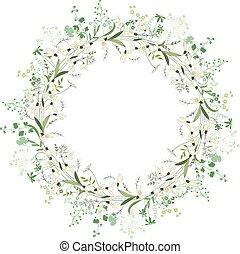wiosna, ułożyć, okrągły, śniegułki, białe kwiecie, kontur