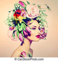 wiosna, woman., piękno, dziewczyna, z, kwiaty, włosiany styl