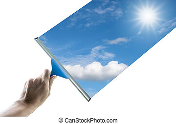 Wipe the glass clean in order to see the beautiful sky.