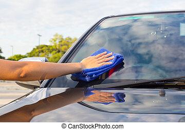 wiping car
