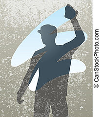 Wiping - Editable vector silhouette of a man cleaning a...