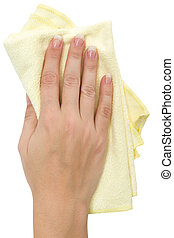 Wiping - Female hand wiping with a yellow rag. Isolated on a...