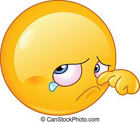 Wiping tear emoticon - Sad emoticon wiping tear