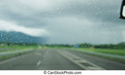 Wiping the car's windscreen - A shot of a car wiping its...