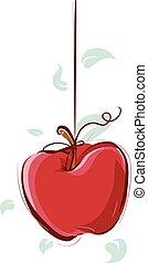 wippen, spel, hangen, appel