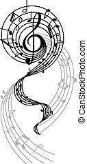 wir, abstrakcyjny, głosy, notatki, muzyczny