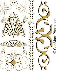 wir, abstrakcyjny, złoty