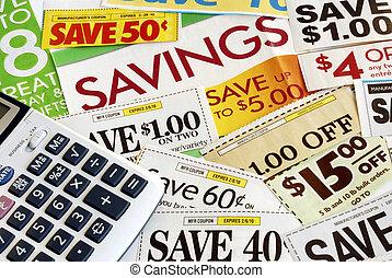 wir, berechnen, ausschnitt, wie, viel, retten, kupons