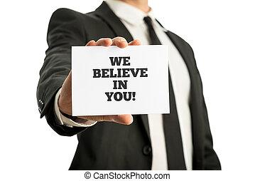 wir, geschaeftswelt, motivational, sie, glauben, nachricht, karte