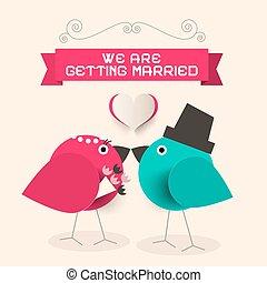 wir, heiraten, gruß, papier, retro, küssende , vögel, karte