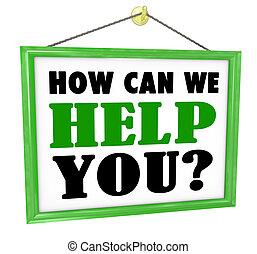 wir, hilfe, service, zeichen, wie, buechse, hängender , sie, kaufmannsladen, zuvorkommend
