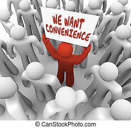 wir, wollen, bequemlichkeit, mann, person, besitz, zeichen,...