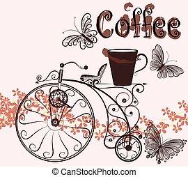 wirbel, bohnenkaffee, old-fa, hintergrund