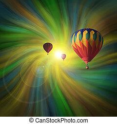 wirbel, fliegendes, luftballone, heiß-luft