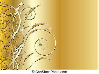 wirbel, gold, hintergrund