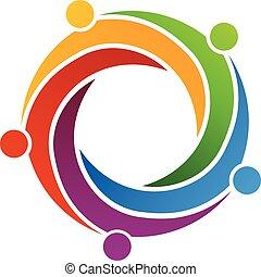 wirbel, logo, design, connection., gemeinschaftsarbeit