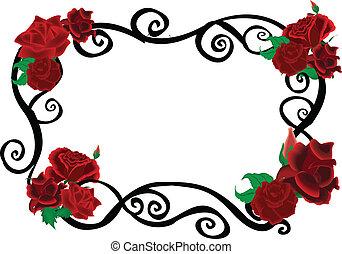 wirbel, rosen, rahmen, elegant