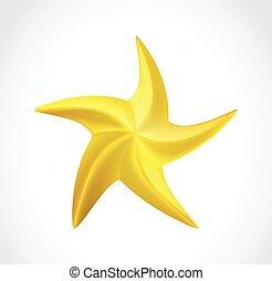 wirbel, vektor, stern, freigestellt, gold