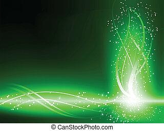 wirbelt, grüner hintergrund, sternen