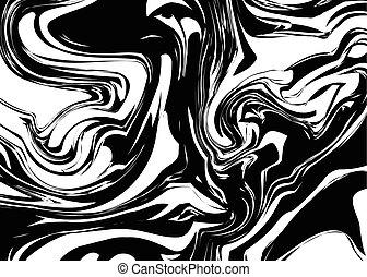 wirbelt, spritzen, schwarz, weißes, tinte