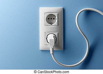 wire and wall socket - electric wire plug in a wall socket