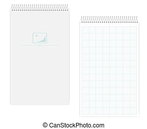 Wire bound legal size notebook with metric field rule sheets, mockup