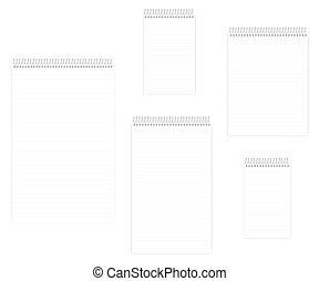 Wire bound spiral lined notebook set, realistic vector mockup