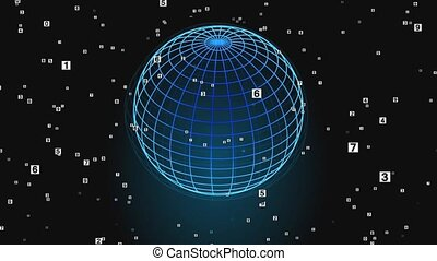 Wire bright blue model of the globe on a black background and flying digits in space. Scientific-fantastic theme suitable as an intro or outro in documentaries.
