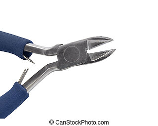 Wire cutter pliers with blue handles isolated on white ...