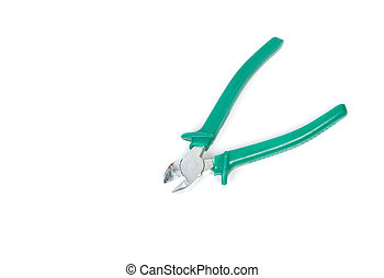 Wire cutter pliers with green handles isolated on white ...