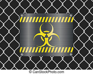 wire fence and biohazard sign