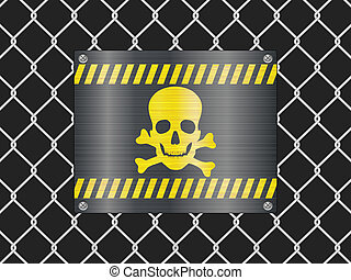 wire fence and jolly roger sign